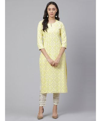 Indo Era Yellow Printed Straight Kurtas