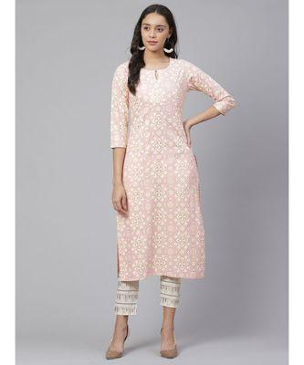 Indo Era Pink Printed Straight Kurtas