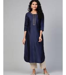 Indo Era Navy Blue Solid Straight Kurtas