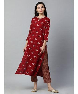 Indo Era Maroon Printed Straight Kurtas