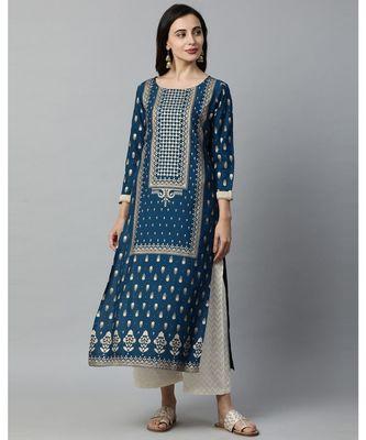 Indo Era Teal Blue Foil Printed Straight Kurtas