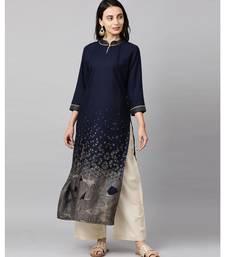 Indo Era Navy Blue Foil Printed Straight Kurtas