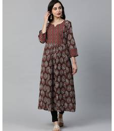 Indo Era Brown Printed Anarkali Kurtas