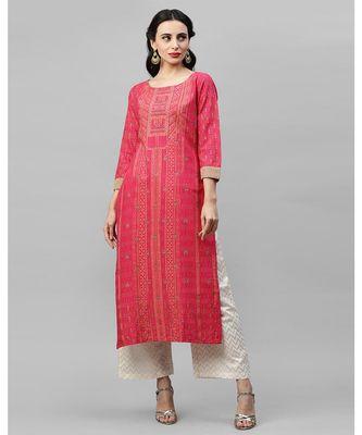 Indo Era Pink  Foil Printed Straight Kurtas