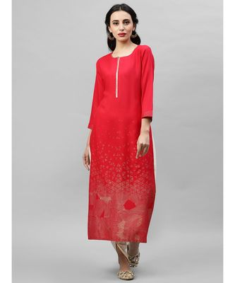 Indo Era Red Foil Printed Straight Kurtas