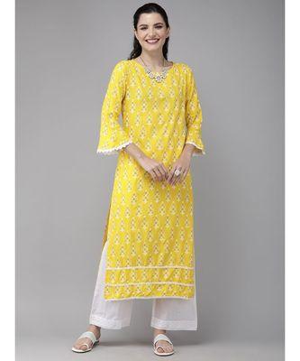 Indo Era Yellow Foil Printed Straight Kurtas