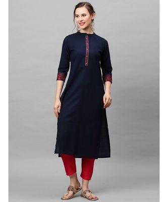 Indo Era Navy Blue Embroidered Straight Kurtas