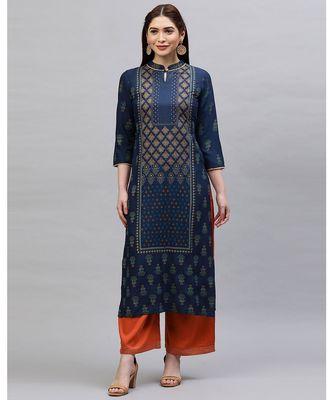 Indo Era Navy Blue Printed Straight Kurtas