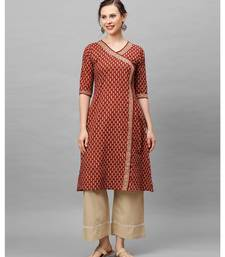Indo Era Brown Floral Printed Anghrakha Style A-Line Kurta