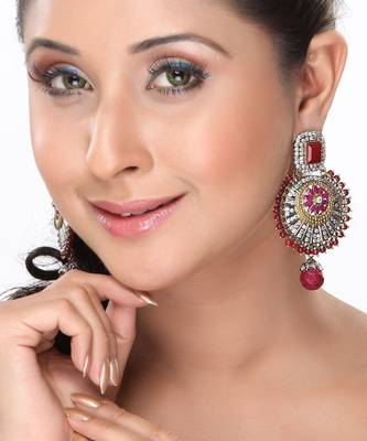 Circular Cz and Ruby Hanging Earrings