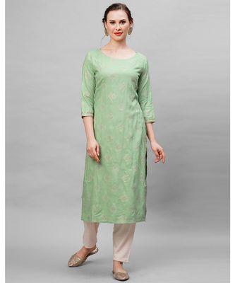 Indo Era Green Ethnic Motifs Straight Kurta
