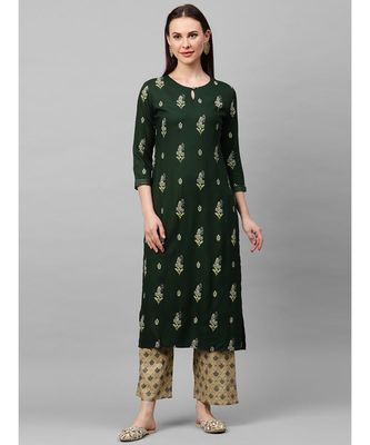 Indo Era Green Foil Printed Straight Kurta with Palazzo Sets