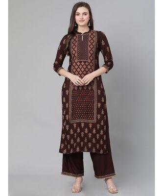 Indo Era Brown Printed Straight Kurta Palazzo Sets