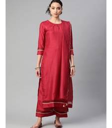 Indo Era Maroon Solid Straight Kurta Pant with Dupatta Sets