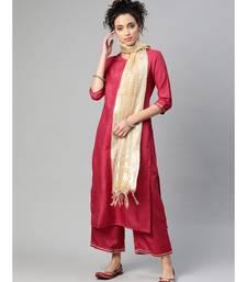 Indo Era Red Solid Straight Kurta with Palazzo Sets