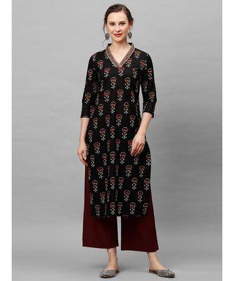 Indo Era Black Floral Printed Straight Kurta with Palazzo Set