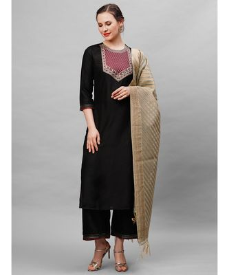 Indo Era Black Solid Straight Kurta Palazzo With Dupatta Set