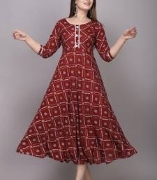 Maroon Bandhni Printed Rayon Gown Kurti