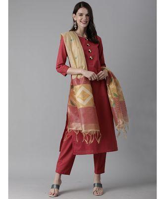 Indo Era Red Solid Straight Kurta Palazzo With Dupatta Set