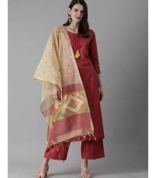 Indo Era Red Embroidered Straight Kurta Palazzo With Dupatta Set