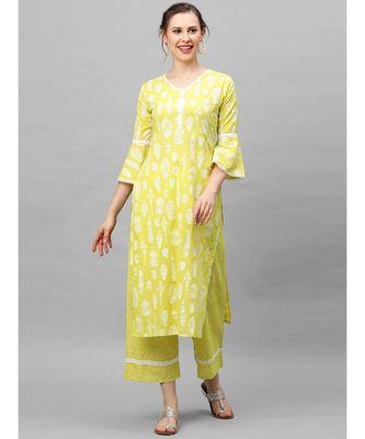 Indo Era Yellow Foil Printed Straight Kurta Palazzo Set