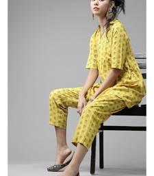 Indo Era Yellow Printed Flared Kurta with Pant Set