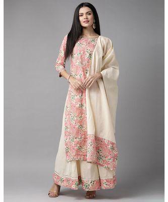 Indo Era Pink Floral Printed Straight Kurta Skirt with Dupatta Set