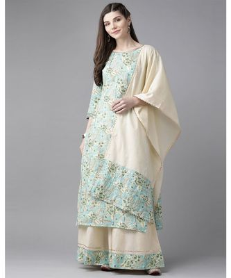 Indo Era Blue Floral Printed Straight Kurta Skirt with Dupatta Set