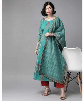 Indo Era Green Floral Printed A-Line Kurta Trouser With Dupatta Set