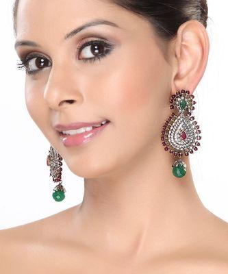 Rubies, Emerald and White CZ Tear drop Earrings