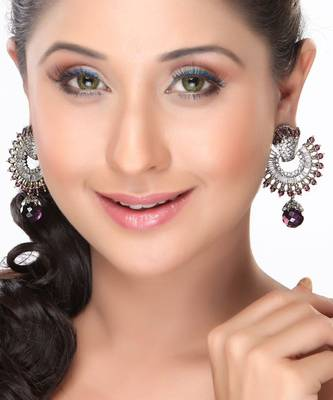 Chand Bali Earring with Amethyst and CZ