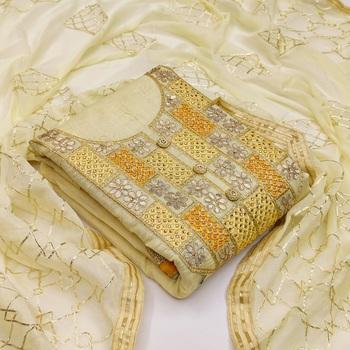 Light-yellow embroidered chanderi salwar