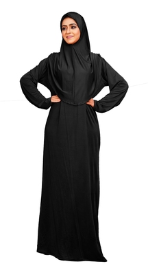 Women's Casual Wear Lycra Abaya Burqa With Attached Cap Style Hijab