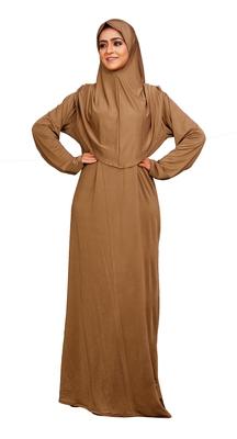 Casual Daily Women Wear Choco Color Lycra Plain Long Instant Hijab + Burqa Abaya