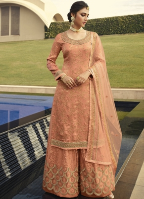 Peach and Gold Embroidered Palazzo Suit