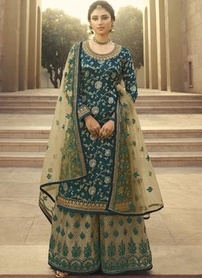 Sea Green and Beige Embroidered Palazzo Suit