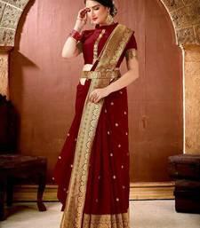 Maroon Banarasi Silk Jacquard Work Designer saree