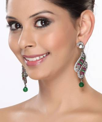 Chandelier Earrings with CZ, Rubies and Emeralds