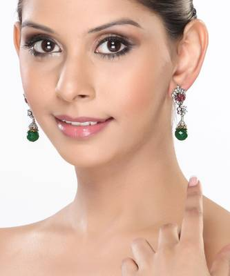 Dangler Earrings with CZ, Rubies and Emerald