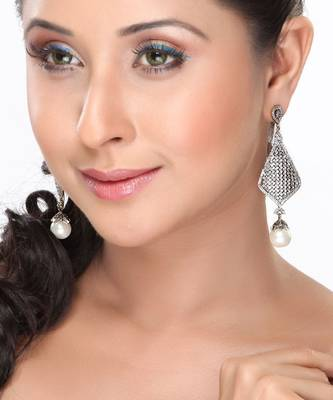 Pearls And Pave Set Cz Dangler Earring