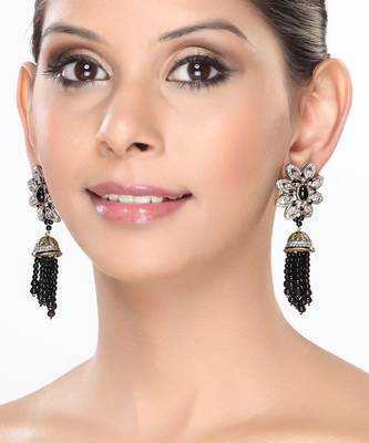 Dazzling CZ Earrings with Black onyx Beads