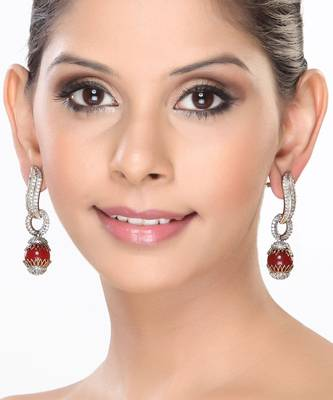 Onyx Beads and CZ Hanging Earrings