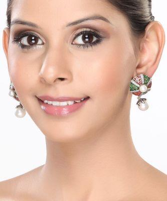 Enamel, CZ and Pearl Earrings