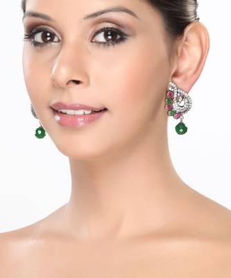 White CZ Peacock Earrings with Emerald and Ruby