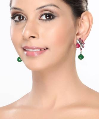 Red Ruby and Green Emerald Antique finish Earrings