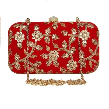 Shoptory India Embroidered Casual Ethnic Sling Bag For Women's Clutch Handpurse - Red
