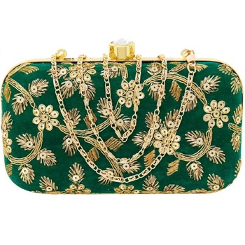 Shoptory India Embroidered Casual Ethnic Sling Bag For Women's Clutch Handpurse Green