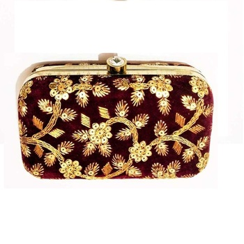 Shoptory India Embroidered Casual Ethnic Sling Bag For Women's Clutch Handpurse Maroon
