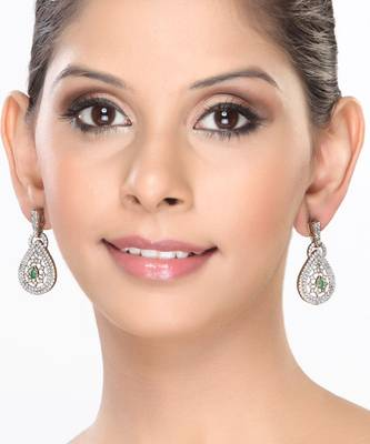 Teardrop CZ and Emerald Hanging Earrings