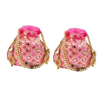 Shoptory India Wristlets Ethnic Potli For Women & Girls Rajasthani Return Gift For Wedding, Light Pink, Pack of 2